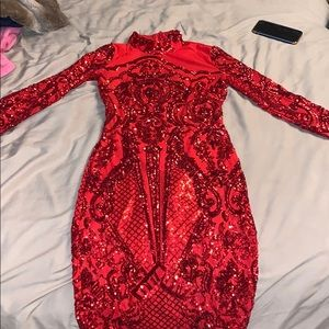 Bomb Red sequins dress!